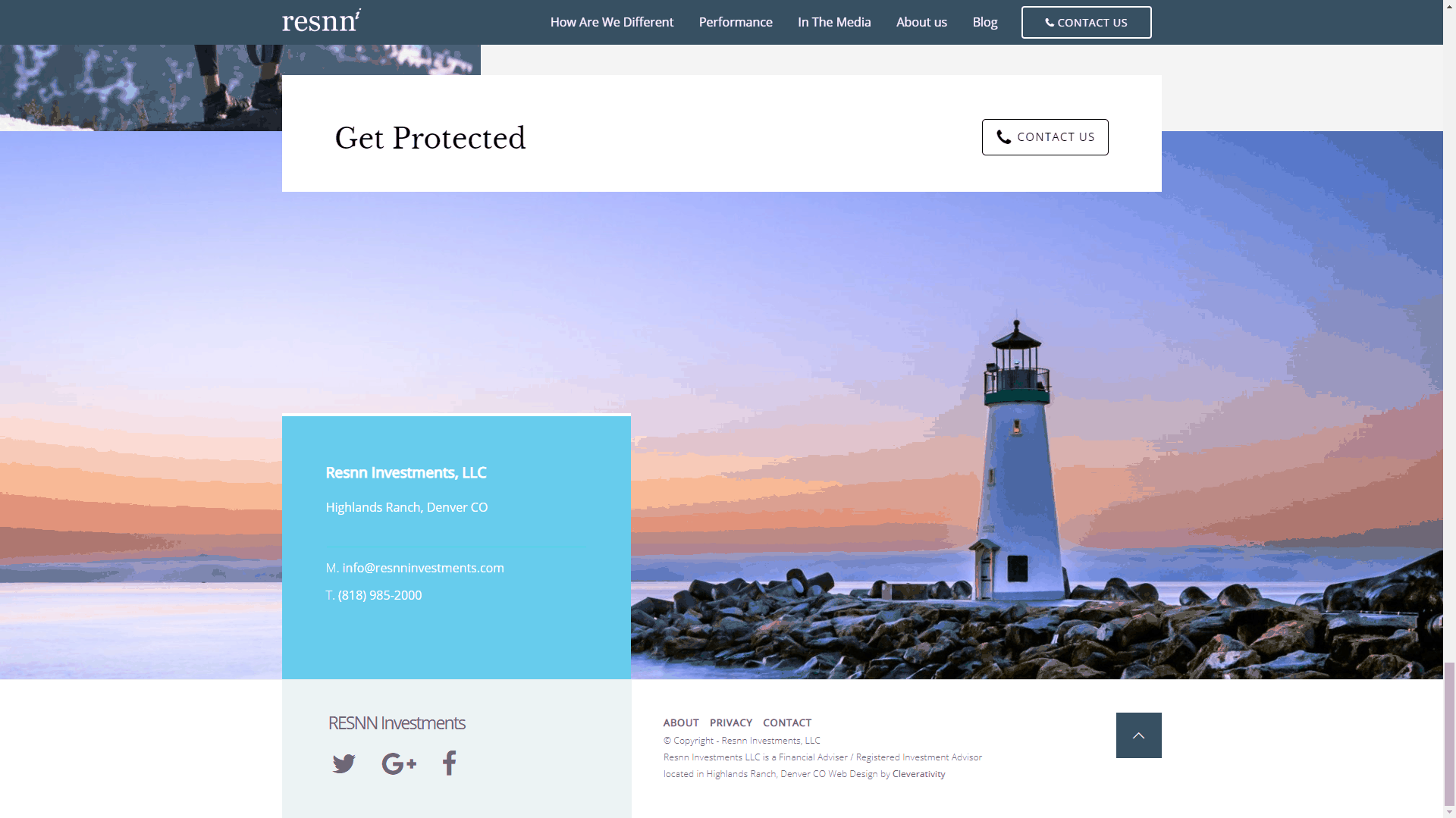 RESNN Investments - Corporate Website Design - Cleverativity - Homepage