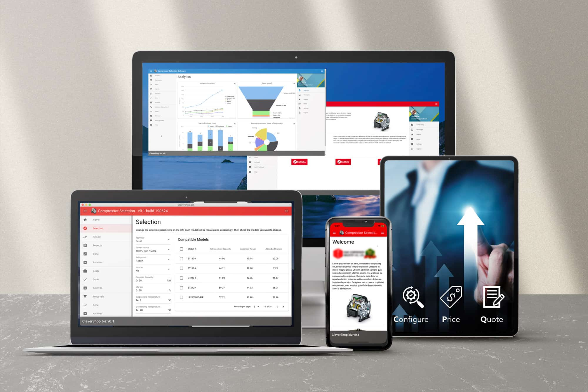 Tailor-made CPQ - Web, Android, and iOS Product Selector/Configurator App